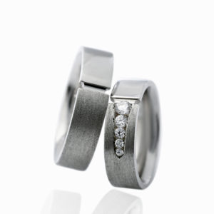 White Gold Men's Wedding Band, with or without Diamonds in a Channel setting.