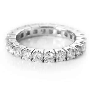 White Gold Diamond 4 Claw Eternity Band