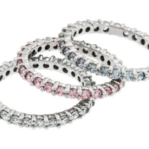 White Gold Eternity Bands with Diamonds, Pink Tourmaline and Blue Topaz