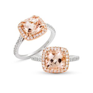 White Gold Diamond and Morganite Engagement Ring Cushion cut Morganite in a Halo and Saw set style