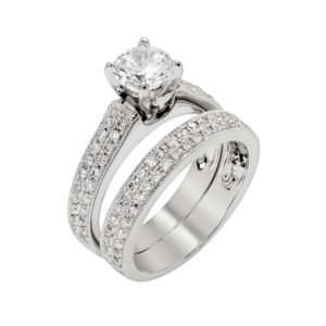 Platinum Diamond Engagement Ring Set with double row pave Diamonds and a matching band.