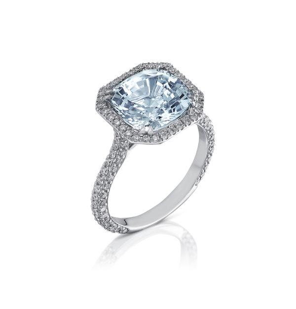 White Gold, Aquamarine and Diamond Engagement Ring. Emerald Cut Aquamarine set with Halo Saw set Diamonds