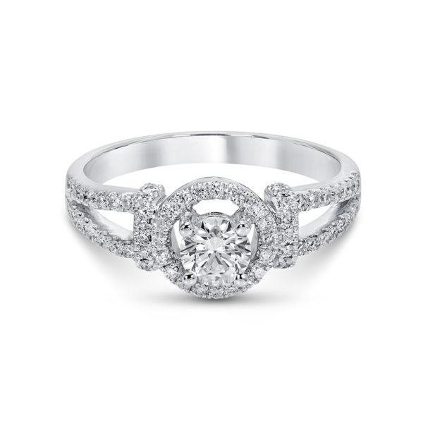 White Gold and Diamond Engagement Ring with a floating Halo and Saw Set Diamonds on the split band.